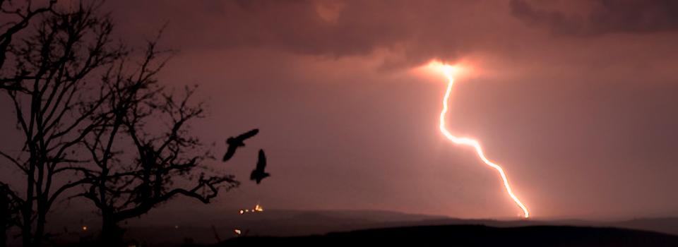 Lightning over Quarr
