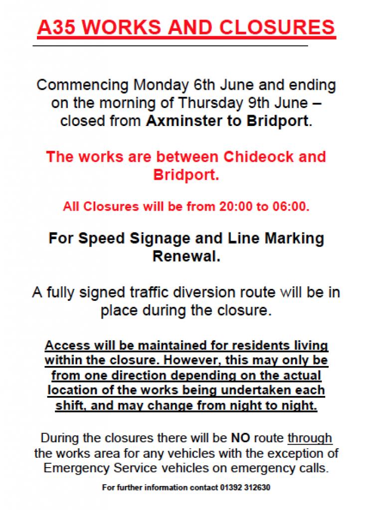 A35 road closure