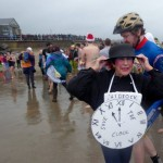 Isabel Ward at the Boxing Day Swim at Charmouth 2015 raising money for The Clock House Appeal